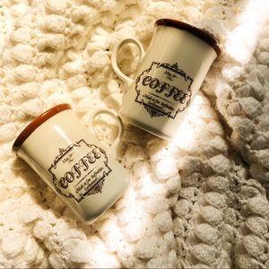 "2 ""mug for coffee"" earthenware mugs staffordshire"